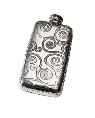 Small Tree of Life Pewter Pocket Flask