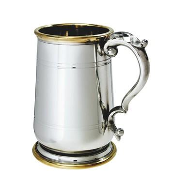 1 pint Hallam Pewter and Brass Jacobean Tankard