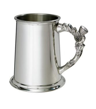 Thistle handle 1 pint pewter tankard
