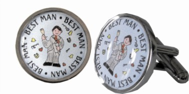 Best Man Silver coloured Cufflinks