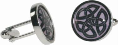 Round celtic pink cufflinks