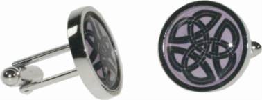 Round celtic pink cufflinks