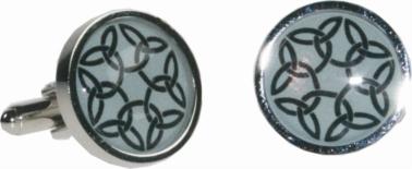 Round celtic green cufflinks