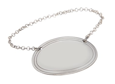 Cast Pewter Plain oval decanter label