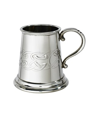 Embossed celtic band baby quarter pint pewter mug