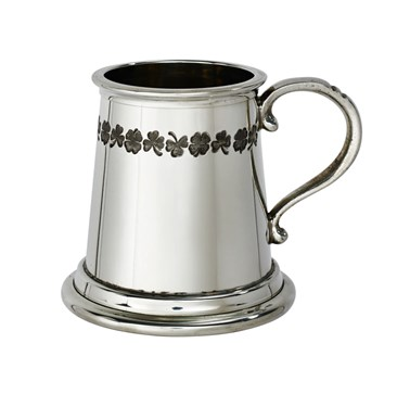 Shamrock quarter pint pewter baby mug