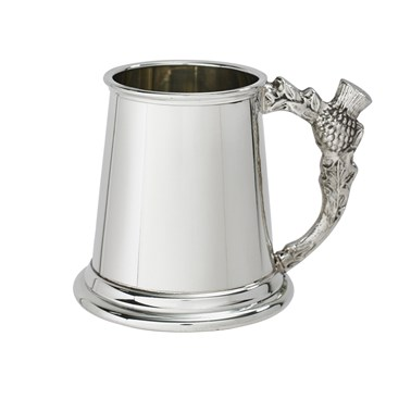 Thistle handle quarter pint pewter baby mug