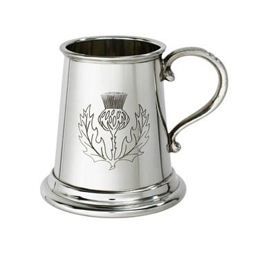 Thistle stamp quarter pint pewter baby mug