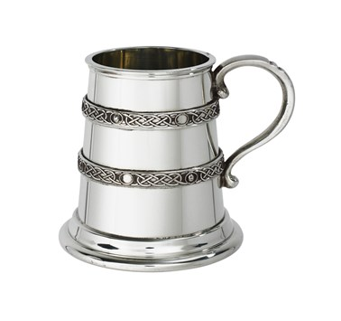 Quarter pint double celtic bands Pewter Baby mug