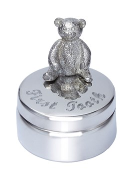 First Tooth Teddy Pewter Trinket Box