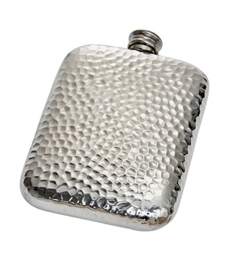 6oz Hammered Pewter Pocket Flask