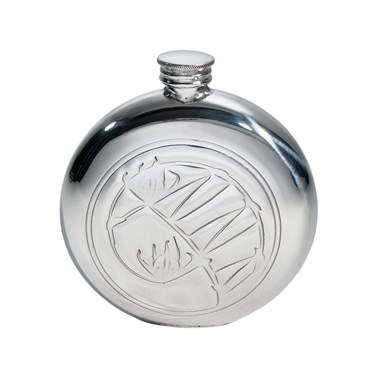 Knox 6oz round pewter flask