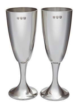 Pair of Polished Pewter Celebration Flutes