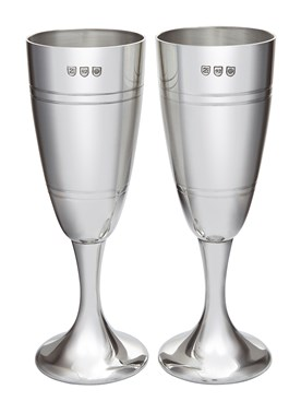 Pair of Part Satin Pewter Celebration Flutes