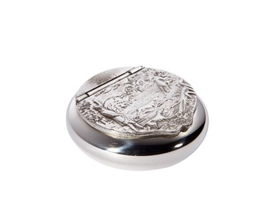 Country Scene Pewter Snuff Box
