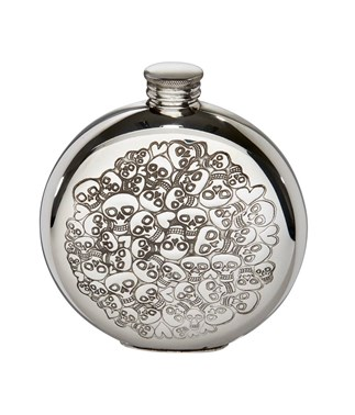 6oz round pewter Love Skull  flask
