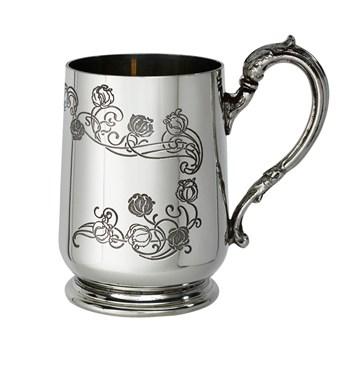 Patterned Childs quarter pint pewter mug