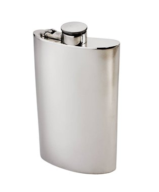 8oz plain Pewter Kidney Hip Flask with Captive Top