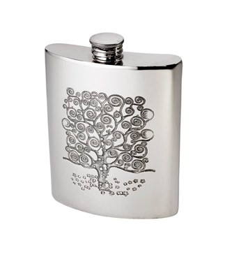 6oz Tree of Life Tree Pewter kidney Hip Flask