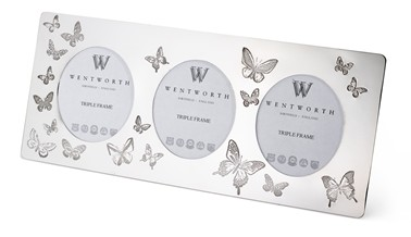 Butterfly Pewter Triple Picture Frame