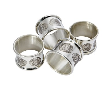 Set of four Charles Rennie Mackintosh Pewter napkin rings