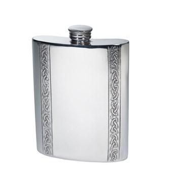 6oz Vertical Celtic Bands Pewter Kidney Hip Flask