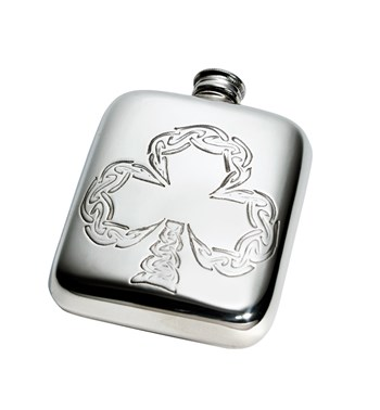 4oz Shamrock pewter pocket flask