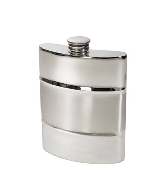 Part Satin 6oz Pewter Kidney Hip Flask
