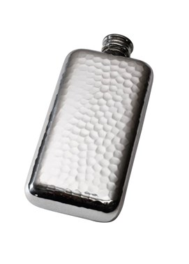 3oz Hammered pewter Pocket Flask