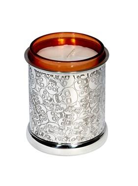 Love Skull pewter candle votive