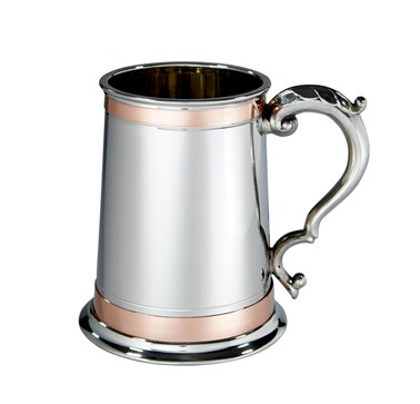 1 pint Double Copper Band Monarch Pewter Tankard
