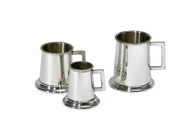 Set of Three Pewter Tankard Measures
