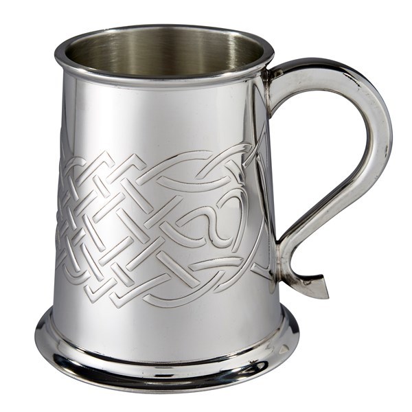 Islay celtic embossed 1 pint pewter tankard