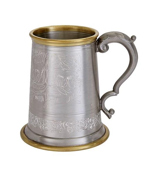 Brass Rim Viking Pewter Tankard