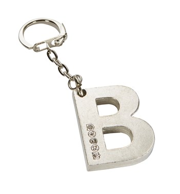 Initial B Touchmarked Pewter Keyring