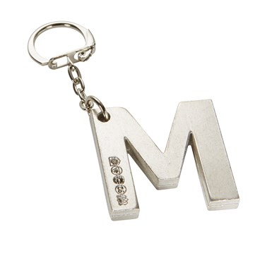 Initial M Touchmarked Pewter Keyring
