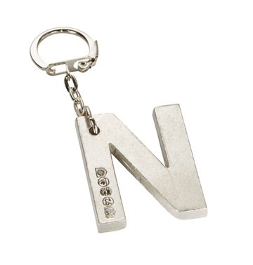 Initial N Touchmarked Pewter Keyring