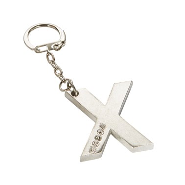 Initial X Touchmarked Pewter Keyring