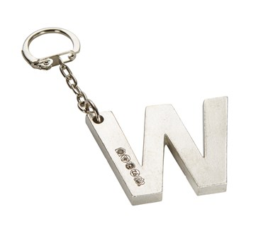 Initial W Touchmarked Pewter Keyring
