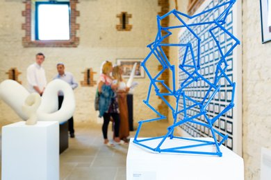 Blue sculpture at Visual Arts Summer Show 2017