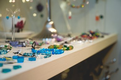 Jewellery for sale at West Dean Gardens Shop