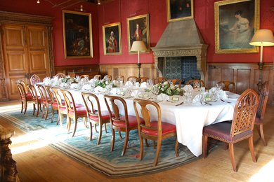 Table set up for private dining at West Dean College