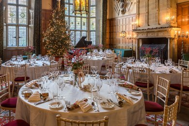 Christmas Dining Tables in the Oak Hall. Image credit Steve Tattersall