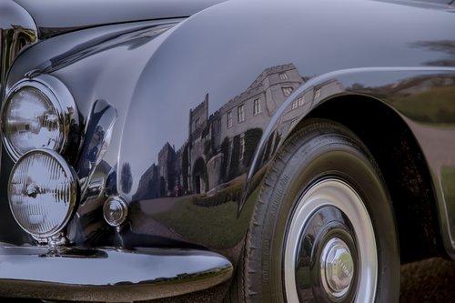 Wedding car arriving at West Dean College, West Sussex
