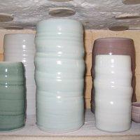 Porcelain vases in the kiln