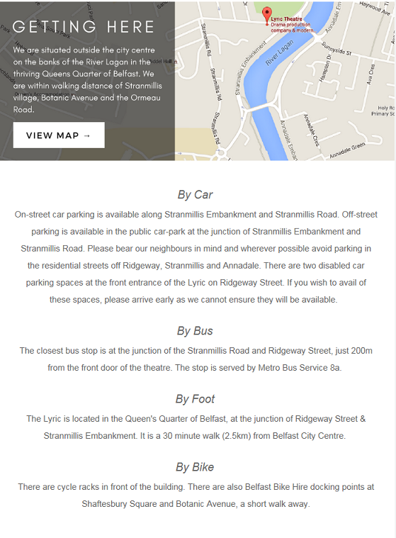 A section of a pre event email from the Lyric theatre, featuring a map, and transport instructions for car, bike, bus, and walking.
