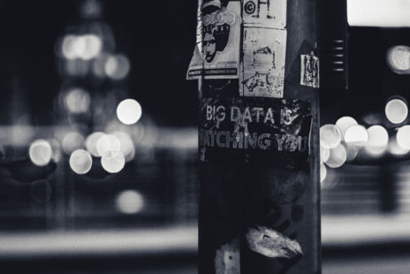 Black And White Photo Of Lamppost With Sticker Reading Big Data