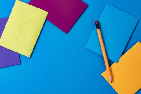Colourful Envelope And A Pencil