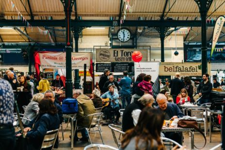 St Georges Market Crowd Scene With Guitarist Performing