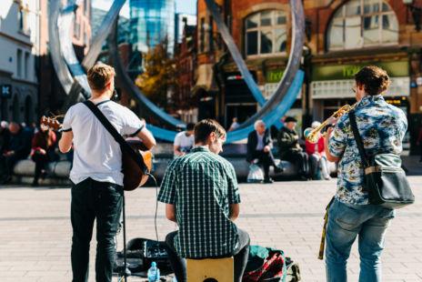 Three Musicians Busking In Belfast